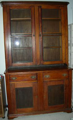 Amer. Southern Antique 1840-60 Walnut 2 Pc Stepback Cupboard old ...