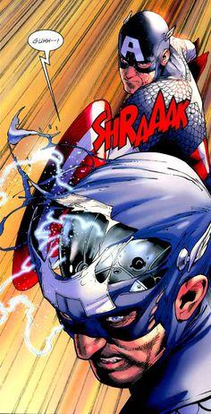 Captain America vs Ameridroid (Lyle Dekker) by Steve McNiven