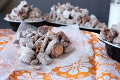 Butterfinger Muddy Buddies Recipe Desserts with Chex Cereal, pretzel stick, Butterfinger Candy Bars, butter, creamy peanut butter, milk chocolate chips, powdered sugar