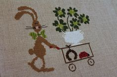 """Pattern by Madame Chantilly, """"Succès assuré"""", when translated means something like """"success guaranteed"""". Cross Stitch Charts, Cross Stitch Patterns, Cross Stitching, Cross Stitch Embroidery, St Patrick's Cross, Easter Cross, Cross Stitch Animals, Knitted Dolls, Cute Pattern"""