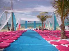 The beach Sikh Destination Wedding setup outside Gurudwara Barcelo Mexico Beach Wedding Reception, Wedding Set Up, Tent Wedding, Wedding Venues, Wedding Locations, Wedding Ceremony, Wedding Stuff, Wedding Ideas, Indian Destination Wedding