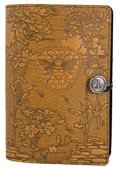 Large Leather Notebook Cover | Bee Garden | Oberon Design