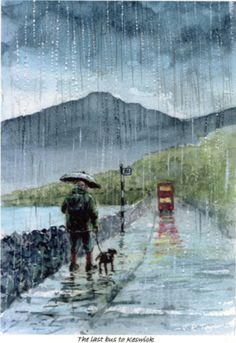 'The Last Bus to Keswick' - by Jim Taylor <> (rain, rainy day, stormy weather, umbrella) Walking In The Rain, Singing In The Rain, Rainy Night, Rainy Days, Rain And Thunder, Rain Art, Umbrella Art, Sound Of Rain, Parasols