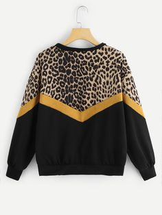 776d431f83 Leopard Panel Drop Shoulder Sweatshirt Panel#Leopard#Drop Sweatshirts  Online, Outerwear Women,