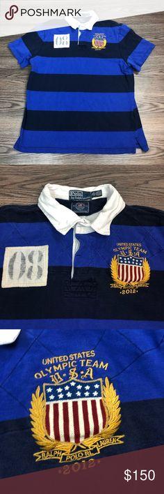 Vintage Ralph Lauren T Shirt in Blue & White Striped w Logo
