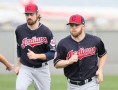 Cleveland Indians pitchers Andrew Miller and Cody Allen doing sprints on the agility field at spring training in Goodyear, Arizona on Feb. 18, 2017.  (Chuck Crow/The Plain Dealer)