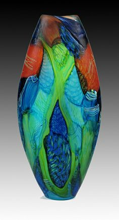 """FUTURIST CONURE"", Blown Glass, by Noel Hart whose work expresses ""an abstract or semi abstract personal iconography, reflecting an interest in nature & ecology."" / http://www.jsauergallery.com"