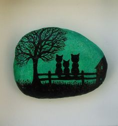 Cats Magnet: Cats Painting on Stone Stone Art by ClaudinesArt