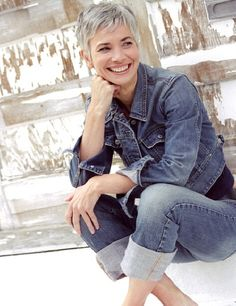 Debra Roberts - model with great short grey hair