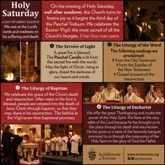 On Holy Saturday, we wait at the Lord's tomb and meditate on his suffering and death Catholic Liturgical Calendar, Catholic Lent, Catholic Prayers, Roman Catholic, Catholic Easter, Catholic Traditions, Easter Traditions, Easter Vigil, Toronto