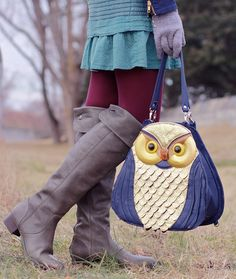 boots, cute, gloves, owl bag, tights