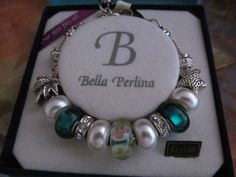 Bella Perlina TEAL GREEN Beads Rhinestone Charm Bracelet Palm Tree Star #BellaPerlina Summer tones that carry over beautifully into Fall.