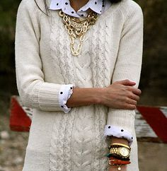 Love this preppy look blinged up with some gold jewelry to show off some femininity