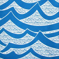 Waves hand printed fabric in Royal Blue, Organic cotton, Sarah Waterhouse