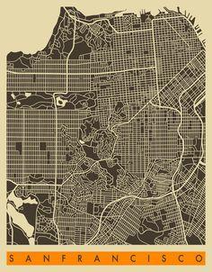 San Francisco Map Art Print, Jazzberry Blue