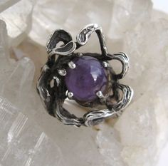 Brutalist Amethyst Sterling Ring Freeform Abstract Handwrought Vintage 925 Silver by VintageFunkandFlair on Etsy https://www.etsy.com/listing/226953607/brutalist-amethyst-sterling-ring