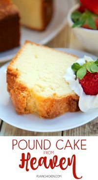 Cake from Heaven - delicious Southern pound cake recipe! Sweet, rich and still as light as a feather. Great for a potluck; everyone loves this! Serve with some fresh whipped cream and strawberries. Can freeze leftovers for a quick dessert later! Just Desserts, Delicious Desserts, Dessert Recipes, Yummy Food, Mini Cakes, Cupcake Cakes, Bundt Cakes, Southern Pound Cake, Pound Cake Recipes
