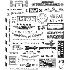 "Tim Holtz Cling Rubber Stamp Set 7""X8.5""-Correspondence by Stampers Anonymous"