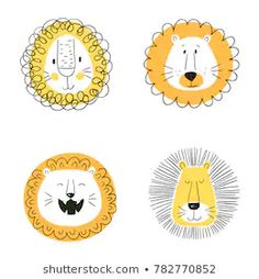 Set Cute Cartoon Lions Funny Doodle Stock Vector (Royalty Free) 782770852