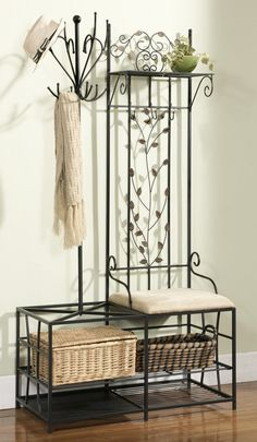 Featuring metal construction and a stylish half-tree design, this black coat rack bench is a great alternative to a cluttered closet or addition to your mud room. Description from ebay.com. I searched for this on bing.com/images