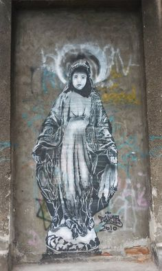 Madonna Graffiti Street Art POSTER A3 print Poland Virgin Mary