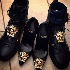 Versace heels and shoes dope shoes Shoe Boots, Ankle Boots, Shoes Heels, Paar Style, Cute Shoes, Me Too Shoes, Versace Shoes, Versace Versace, Couple Outfits