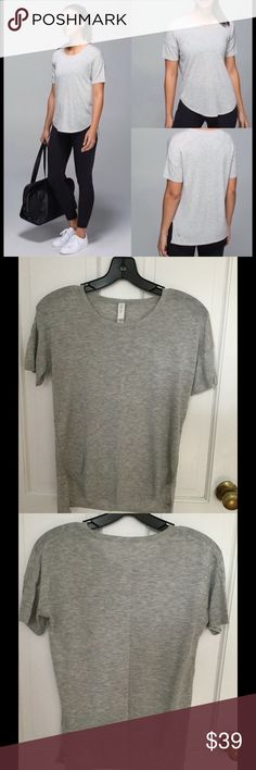 Lululemon Daya Knit Tee size 4! Super stylish and very comfortable Lululemon Daya Knit Tee size 4! Color is heathered light grey! Perfect for layering or by itself :) lululemon athletica Tops Tees - Short Sleeve