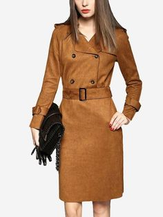 Camel Suede Double Breasted Lapel Collar Midi Dress