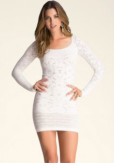 """BEBE VICTORIA LACE DRESS  Super-femme mixed-lace dress with sleek construction that ensures gorgeous curve definition. Scoopneck. Partially lined. 92% Nylon, 8% spandex Machine wash Made in USA Center back to hem: 29″ (74 cm) Model is 5'10"""" and wears a US size P/S"""