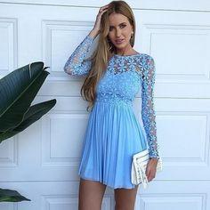 $149.99 Sky blue chiffon homecoming dress,short A-line homecoming dress,long sleeves prom dress