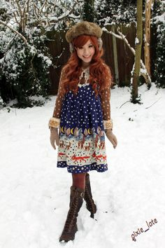 Otome and the snow.