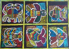 The Kuna Indians of Panama are incredibly skilled with designs in thread and material. Copying their style, I painted this sea-creature sampler. Hispanic Art, South American Art, 6th Grade Art, Art Curriculum, School Art Projects, Thinking Day, Art Activities, Symmetry Activities, Middle School Art