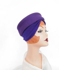 Turban pillbox  hat with scarf, 1960s purple Regent by TheVintageHatShop on Etsy https://www.etsy.com/listing/221454220/turban-pillbox-hat-with-scarf-1960s