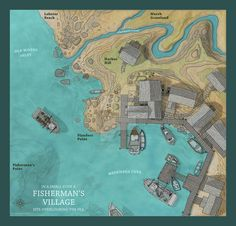 A Fisherman s Village by ricsnodgrass deviantart com on @DeviantArt Village map Fantasy city map Map