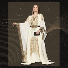Intricate and exquisite! A beautiful combination of machine embroidery and sparkly sequins is what makes this flowy, ethereal Jalabiya Caftan an absolute dream! Product no: 8881
