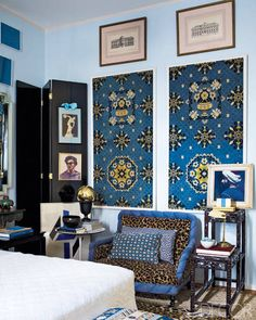 Fabrizio Rollo's São Paulo apartment - that leopard print on the blue chair is so inspired
