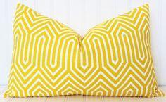 Yellow Pillow, Throw Pillow, Decorative Pillow Cover, Yellow White Pillow…