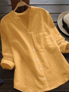 Solid V Neck Cotton linen Blouse Women Casual V Neck Solid Long Sleeve Loose Cotton linen Shirt Plus Size Blouse Button Tops Ladies Tops Patterns, Camisa Lisa, Long Sleeve Tops, Long Sleeve Shirts, Blouses For Women, T Shirts For Women, Plain Shirts, Blue Shirts, Linen Blouse