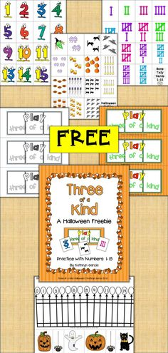 Here is a fun FREEBIE for you to play with your little ones. There are 15 cards with numerals 1-15, 15 cards with Halloween pictures and 15 cards with bone tally marks. Also there are 2 pages with games boards (3 each in color and black and white). The players need to find three cards that match in number to make a 3 of a kind set. You determine the number of game boards and cards each student gets in order to fit your needs.
