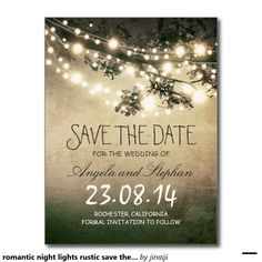 romantic night lights rustic save the date postcard