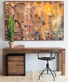 Santomer Single File Cabinet, Plank Desk, Sputnik Stool designed by Frederic Frety & West One Painting.