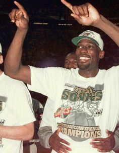 Shawn Kemp of the Seattle SuperSonics celebrates after beating the Utah Jazz 02 June in the Western Conference finals game seven at Key Arena in...