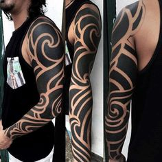 Blackwork Negative Space Full Sleeve Male Arm Tattoos Tribal #TattooIdeasMale