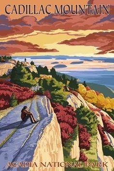 Acadia National Park, Maine - Cadillac Mountain - Lantern Press Poster