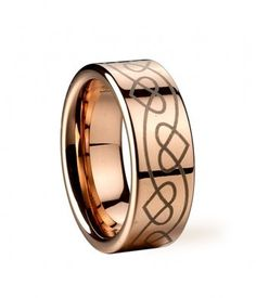 Tungsten Rings Details  This kind of tungsten wedding band with heart-shaped pattern and simple design shows your personality: less is more.    •Polished Shiny Tungsten  •Rose Gold plating, Heart-shaped Pattern  •Width: 8mm  •Gender: Men/Womenmens wedding rings