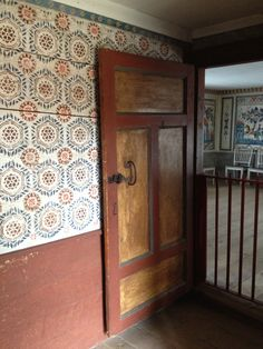 Painted linen on walls - Delsbo House, Skansen, Stockholm