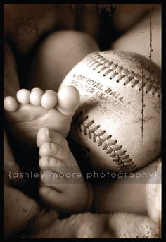 this is a super cute picture :D but i'd change the baseball to a football