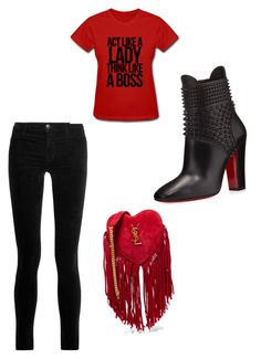 """""""girls night"""" by laquinna-lb on Polyvore featuring Christian Louboutin, J Brand and Yves Saint Laurent"""