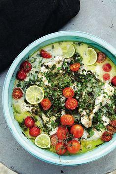 Vis met kruiden, kokosmelk, limoen en tomaatjes - Pascale Naessens
