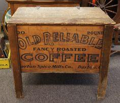 Old Reliable Antique Coffee General Store Bin Dayton Ohio Primitive Trunk Crate #Primitive